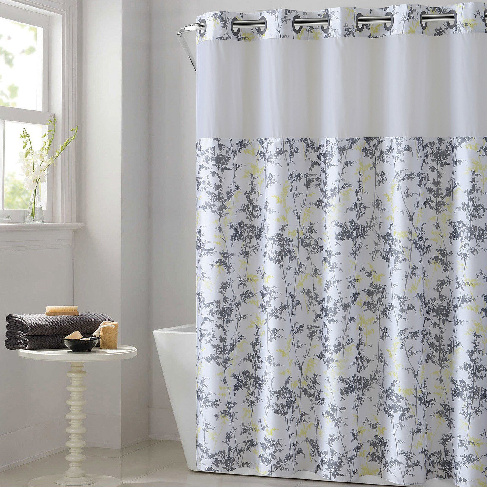 Hookless Floral Leaves Polyester Shower Curtain