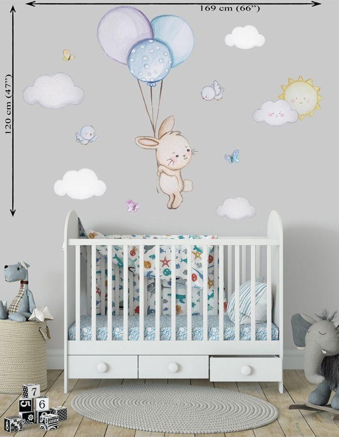Balloon Nursery Baby Room Wall Sticker Bunny Nursery Wall Decal