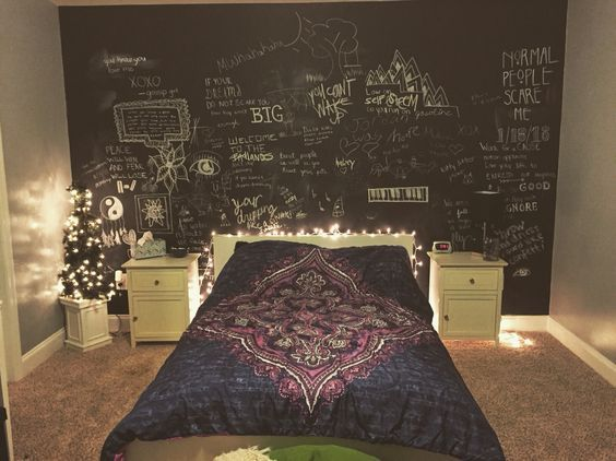 Bedroom Tumblr Chalkboard Wall Purple Blue White Ikea Fairy Lights Black Grey Teen Girl