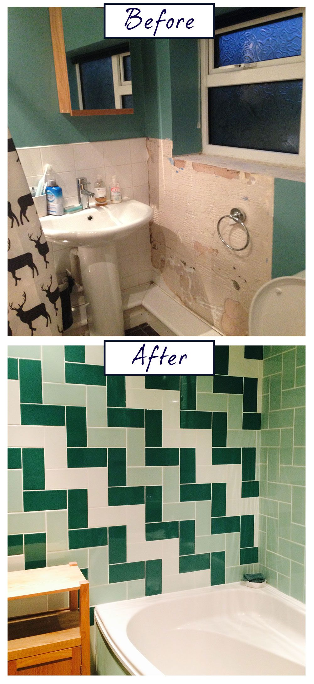 Nicola clark got creative with green creating a striking herringbone antique smooth crackle metro tiles dailygadgetfo Gallery