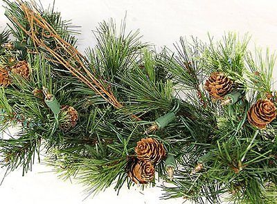 Christmas Mixed Country Pine Green Garland With 100 Clear Dura Lit 16in