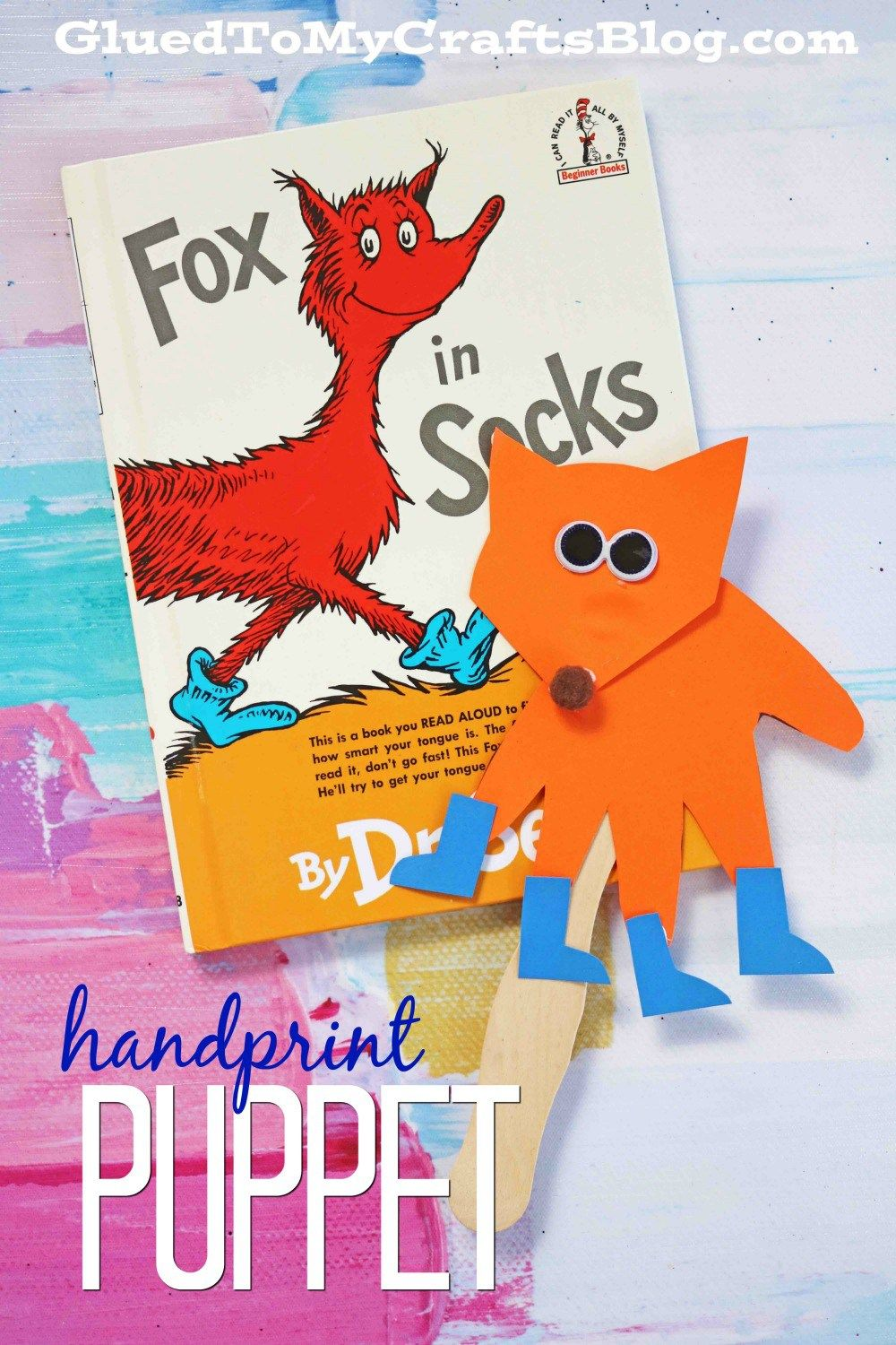 Handprint Fox In Socks Kid Craft Puppet | Dr. Seuss | Pinterest