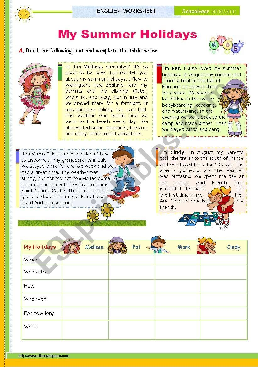 This Is The First Of 2 Lessons On Summer Holidays 2 Pages Reading Tasks After Speculating About T Reading Comprehension Valentine Reading Writing Activities [ 1169 x 821 Pixel ]