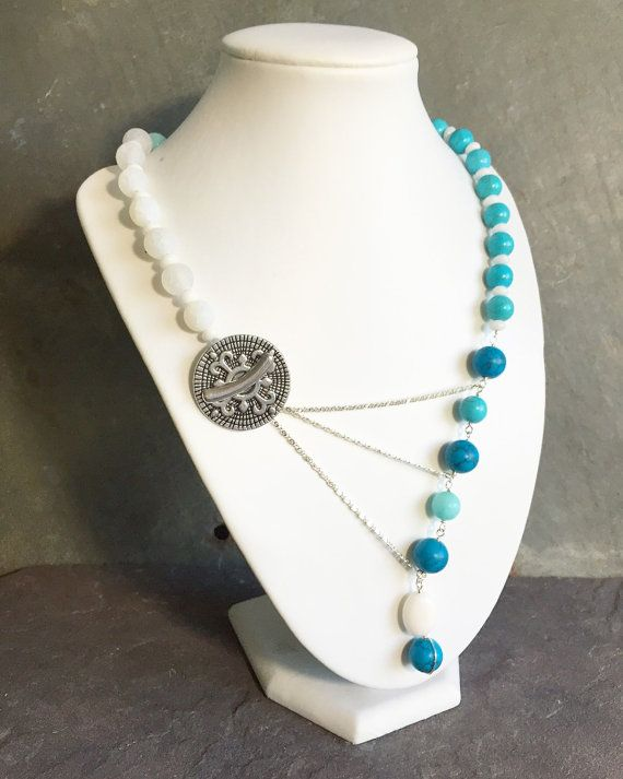 White to Blue Ombre Gemstone Adrienne Adelle Signature Necklace