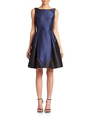 Theia Colorblock Cocktail Dress