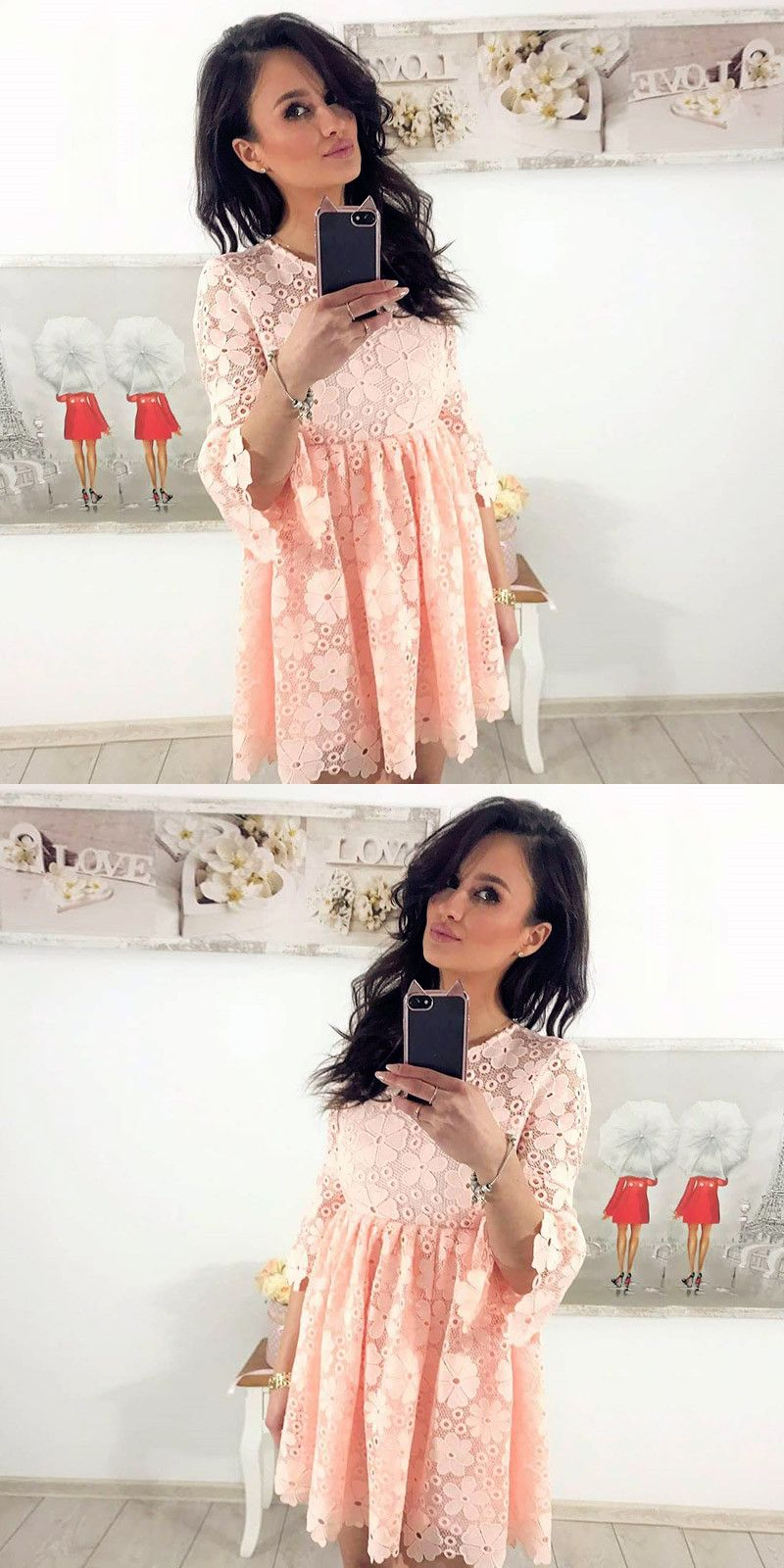 Aline round neck sleeves pink lace homecoming dress