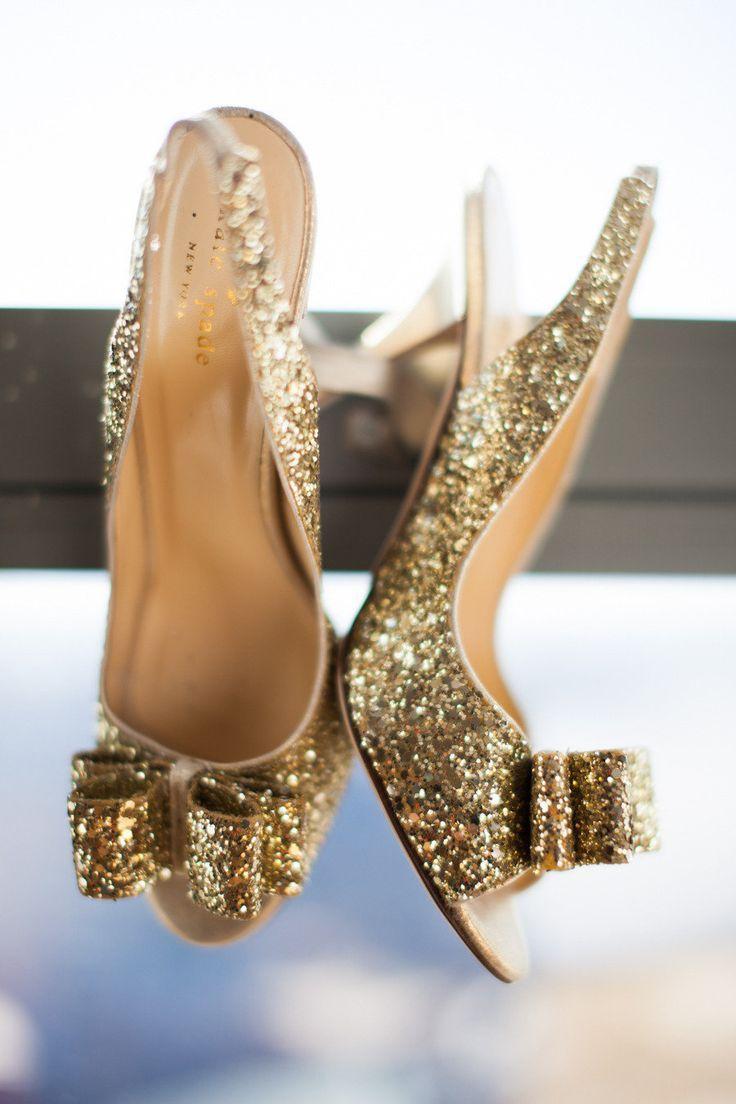 kate spade glitter bow heels