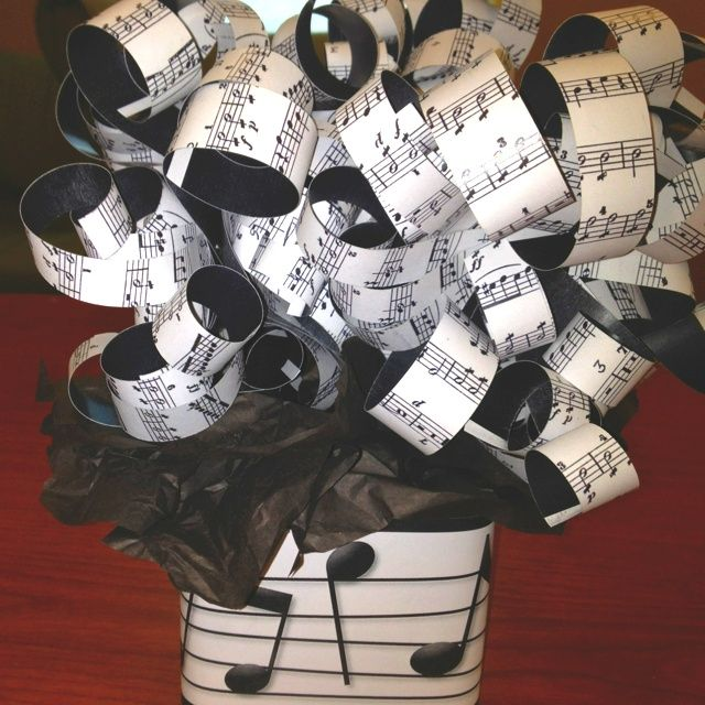 Music Themed Party Decorations Ideas Part - 16: Musical Theme Party | Centerpiece For Music Themed Party. Printed Music In  Paper, Cut