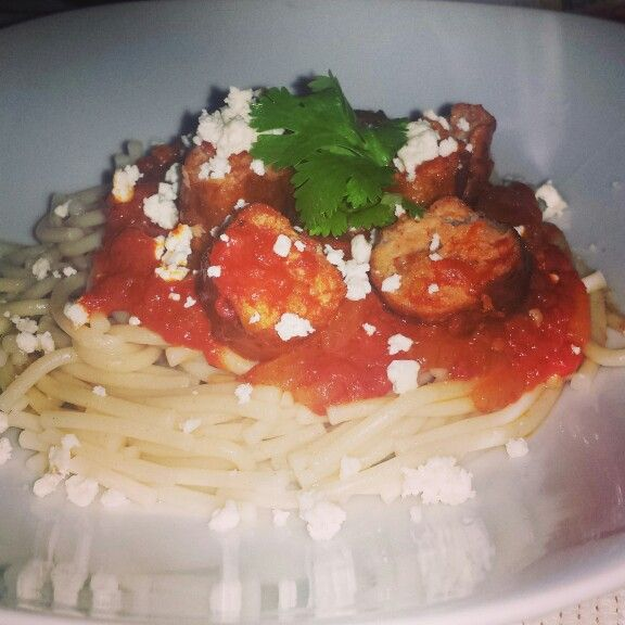 Spaghetti With Garlic Infused Chutney, Pork Bangers And