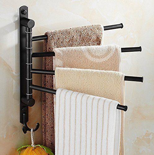 Wall Mounted Towel Bar Rack Holder Hook Swivel Bathroom Hanger Oil