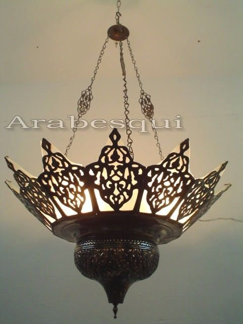Br227 Large Oriental Br Moroccan Chandelier Lined With