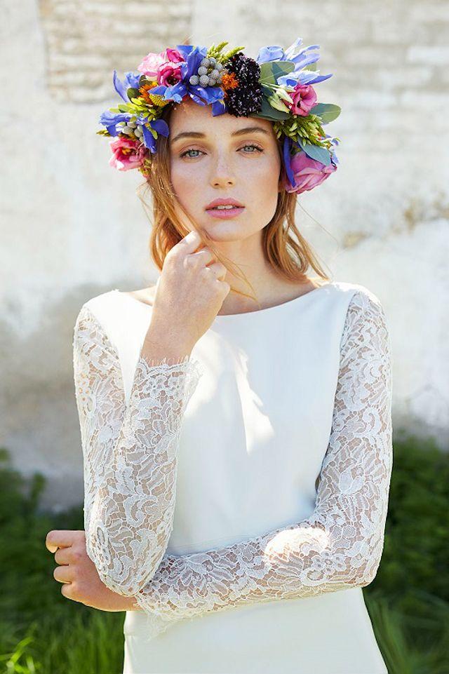 alejandra svarc vestido novia taller romántico boho corona flores