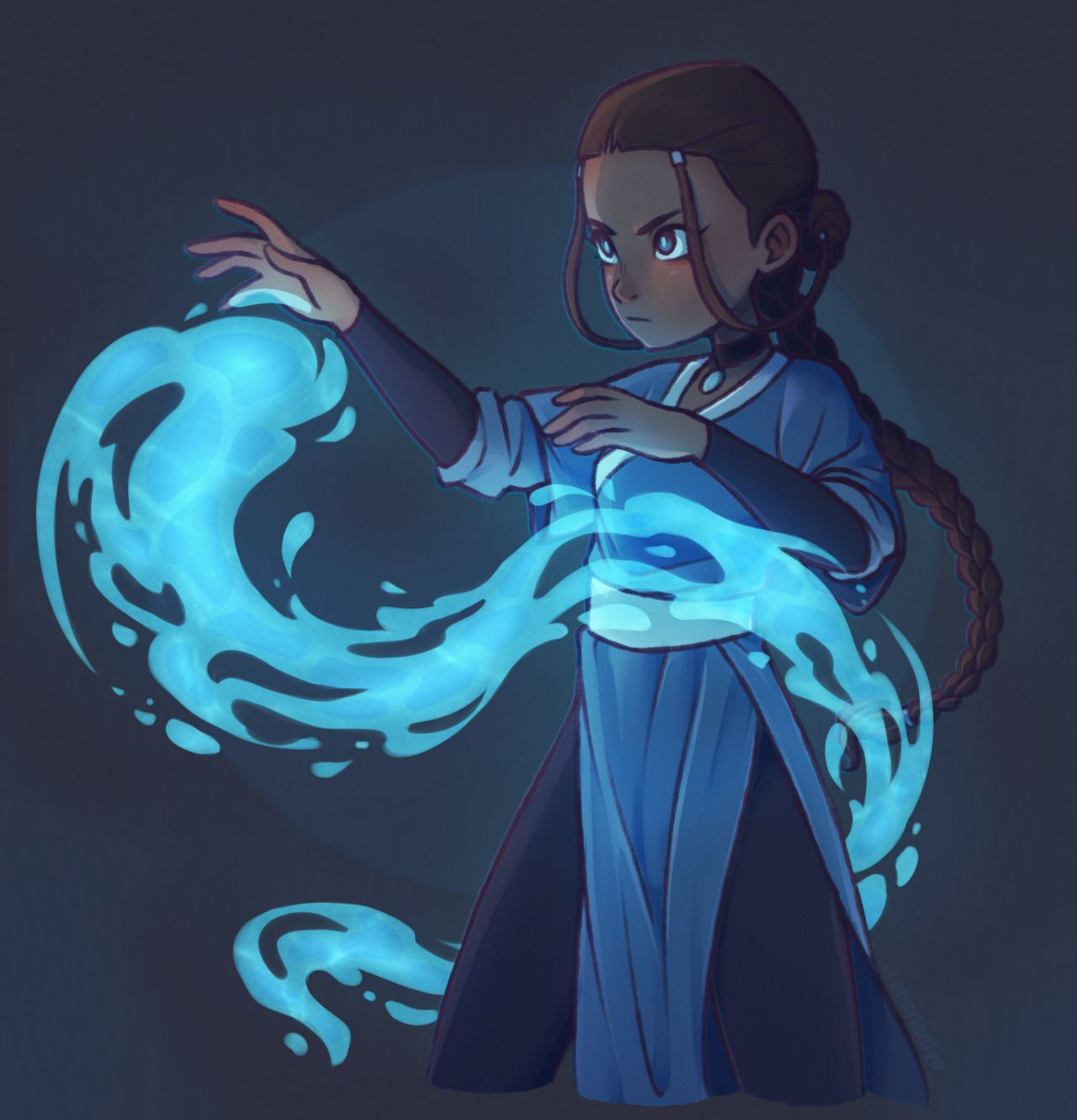 Photo of ummm idk how to draw waterbending   like at all –                    self-taught illustrator || horror fanatic