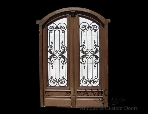 Arched Double Front Door With Cast Iron Inserts Front Door Double Front Doors Arched Front Door