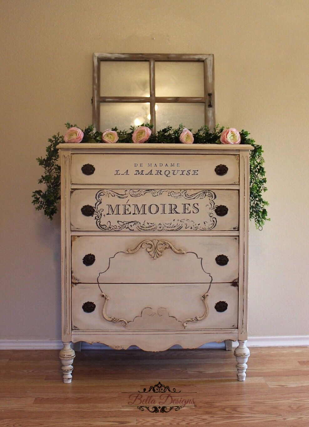 Antique Dresser Painted In Soft White Chalk Paint Brown Stain Wax