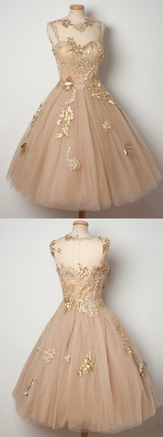 Aline jewel tealength champagne tulle homecoming dress with