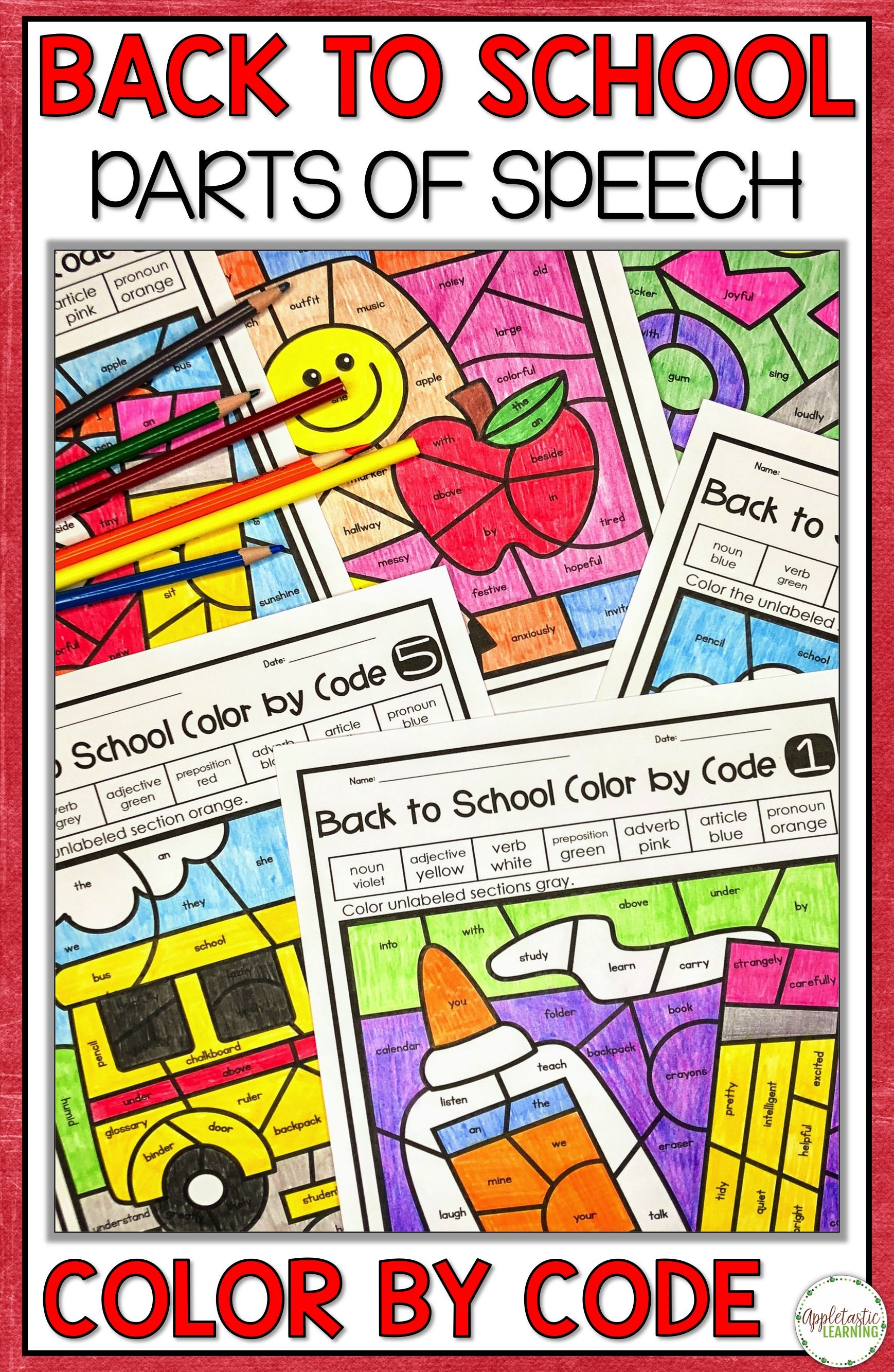 Back To School Coloring Pages Parts Of Speech Color By