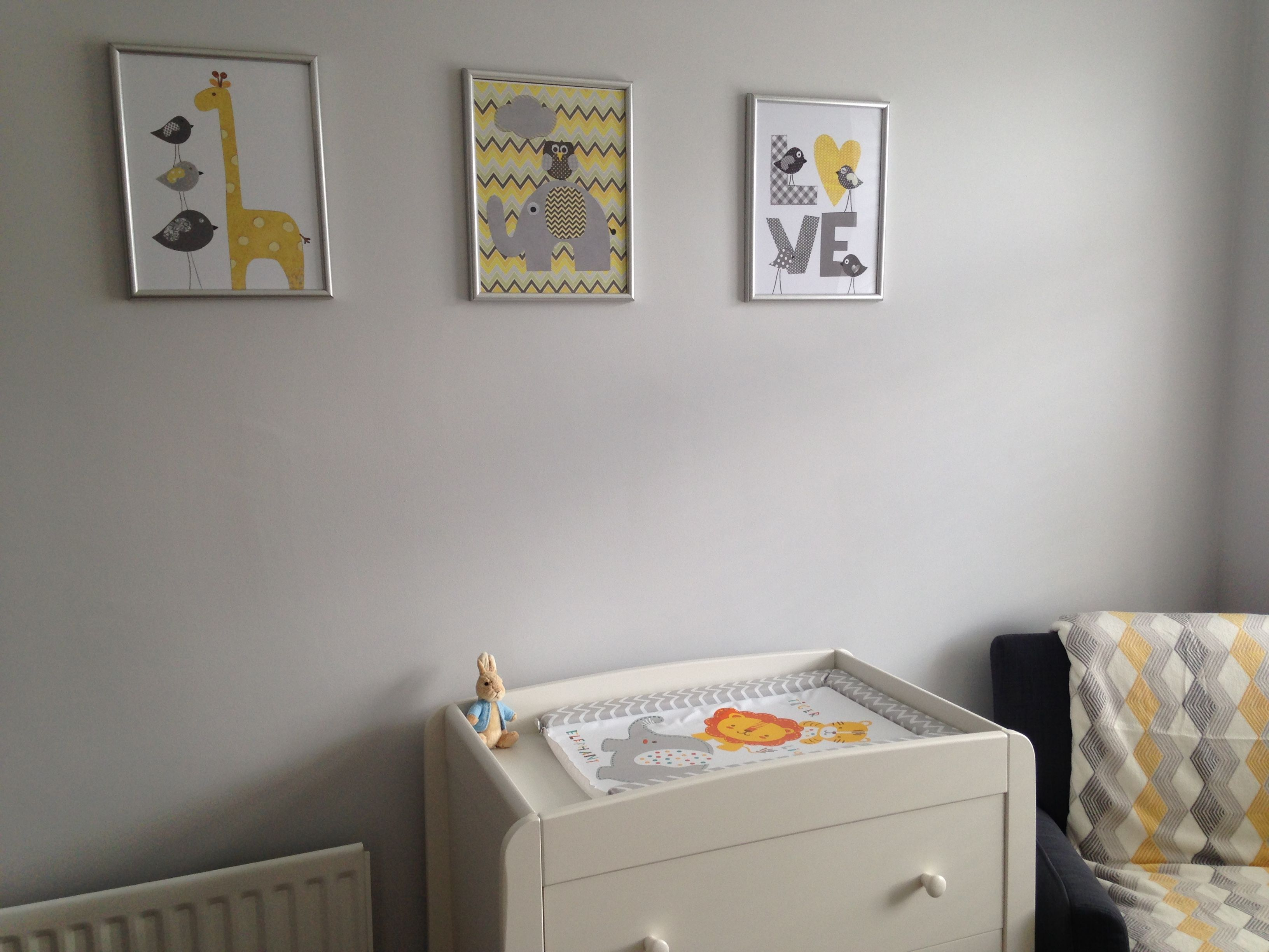 Mamas Papas Changing Table With Grey Yellow Themed Nursery Accessories