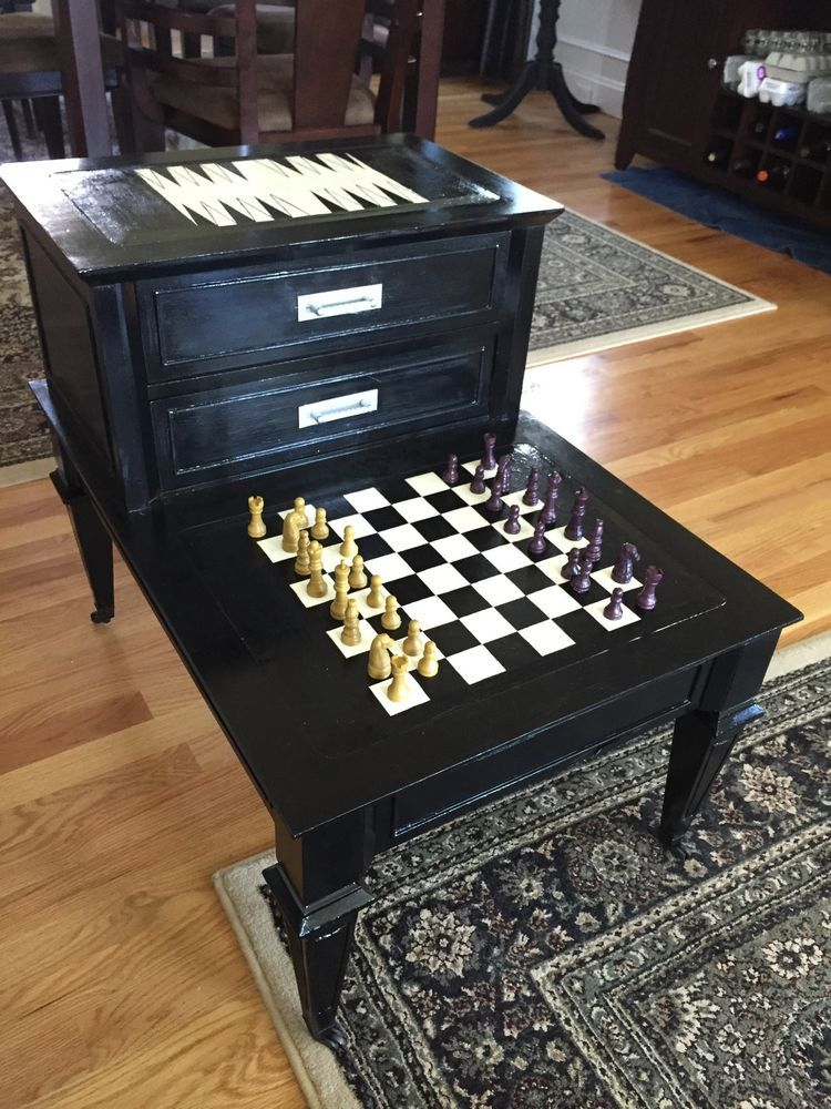 Details about refurbished vintage end table to chess - Refurbished living room furniture ...