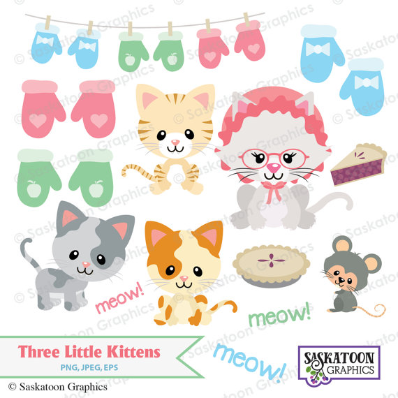 Three Little Kittens Lost Their Mittens Clipart Instant Download File Digital Graphics Crafts Little Kittens Simple Collage Animals For Kids