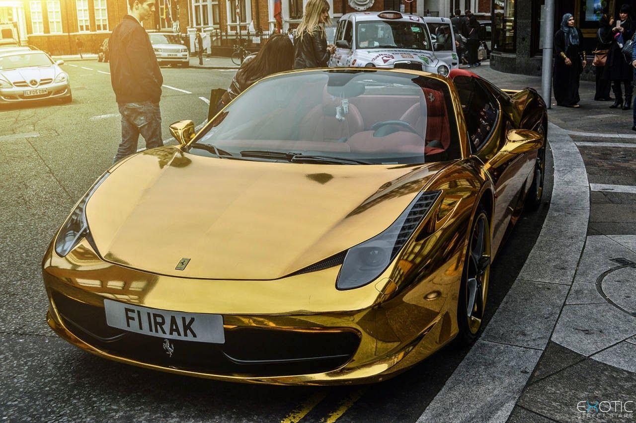 Chrome Gold Ferrari 458 Spider With Images Ferrari 458 Luxury