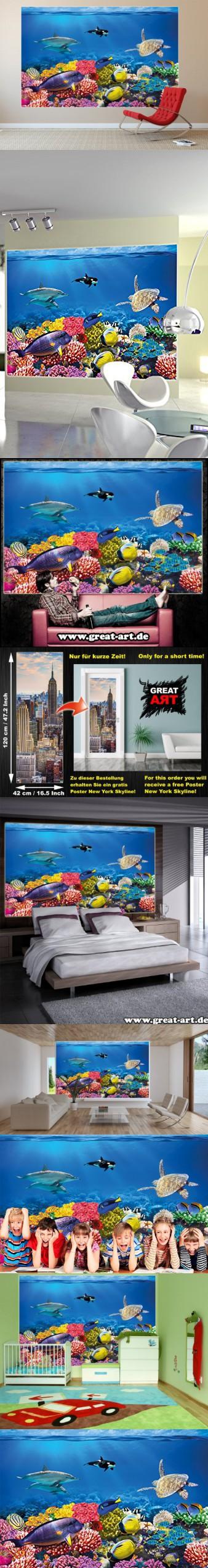 Undersea coral reef photo wall paper aquarium fish sea for Decor mural xxl 4 murs