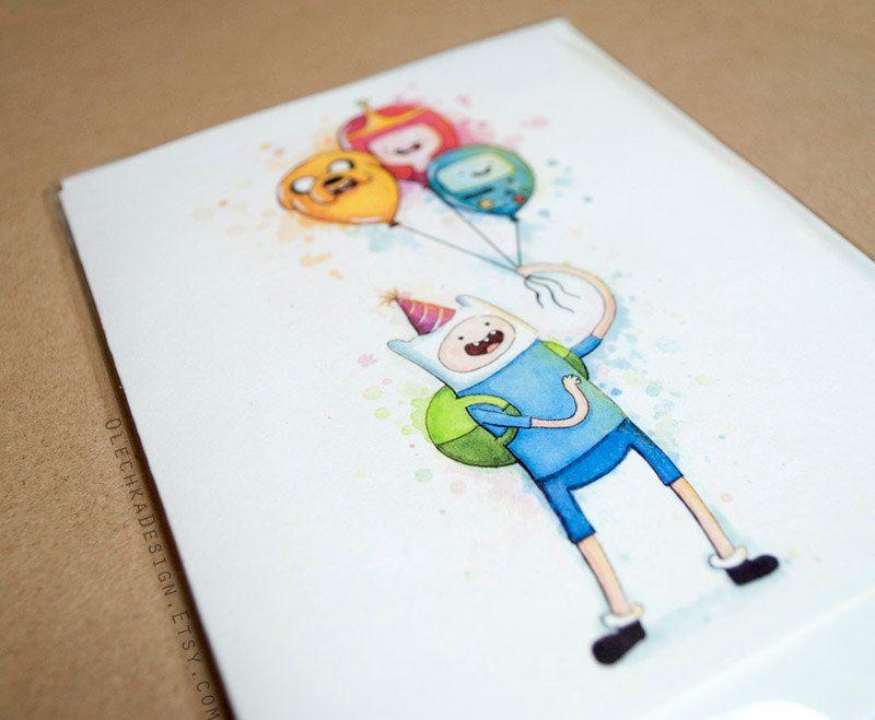 Adventure time birthday card finn with balloons jake bmo princess adventure time birthday card finn with balloons jake bmo princess bubblegum folded greeting card m4hsunfo