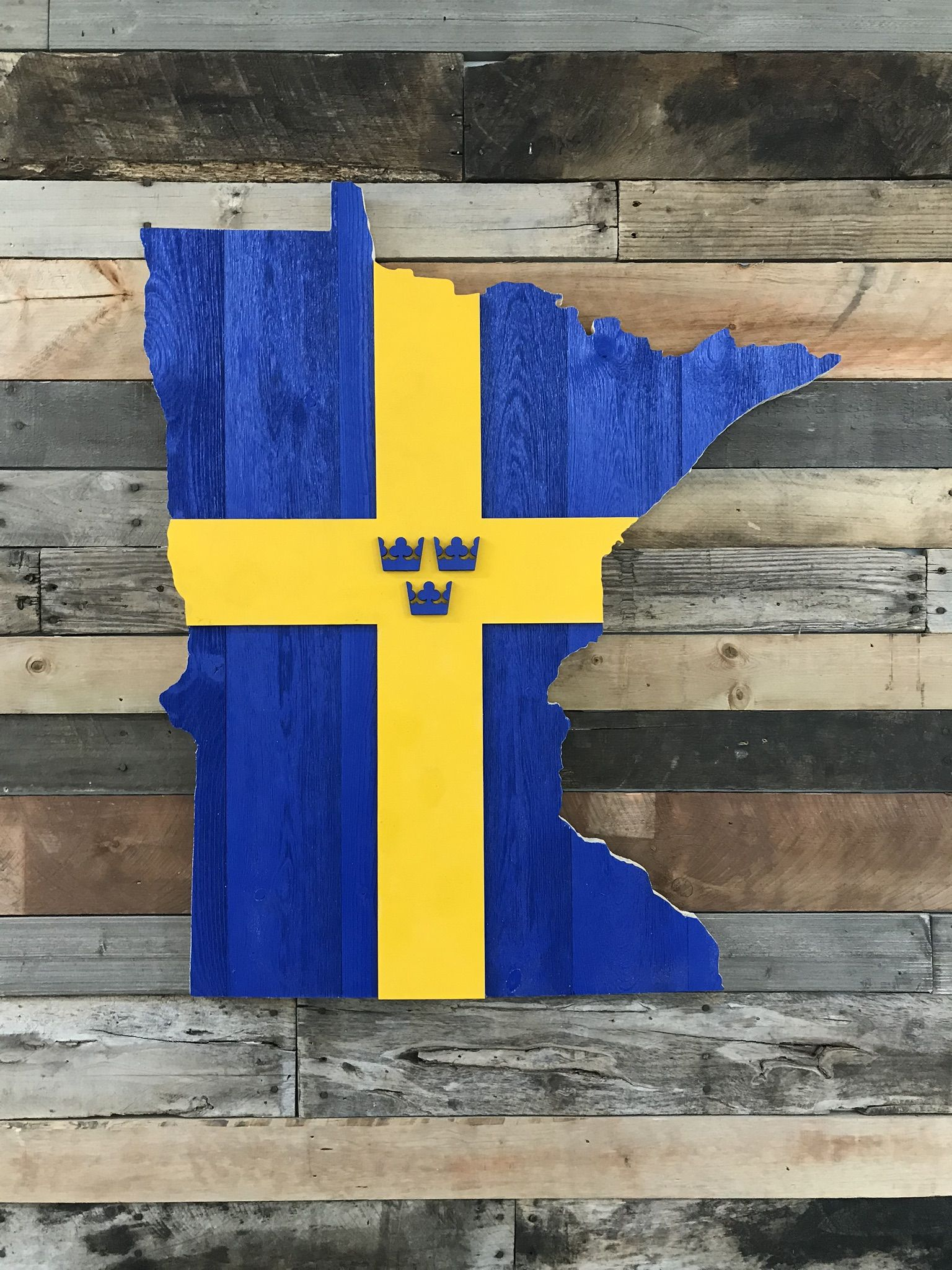 Minnesota Sweden Swedish Flag Scandinavian Wood Wall Art In 2020 Wooden Wall Art Wood Art Wooden Wall Decor