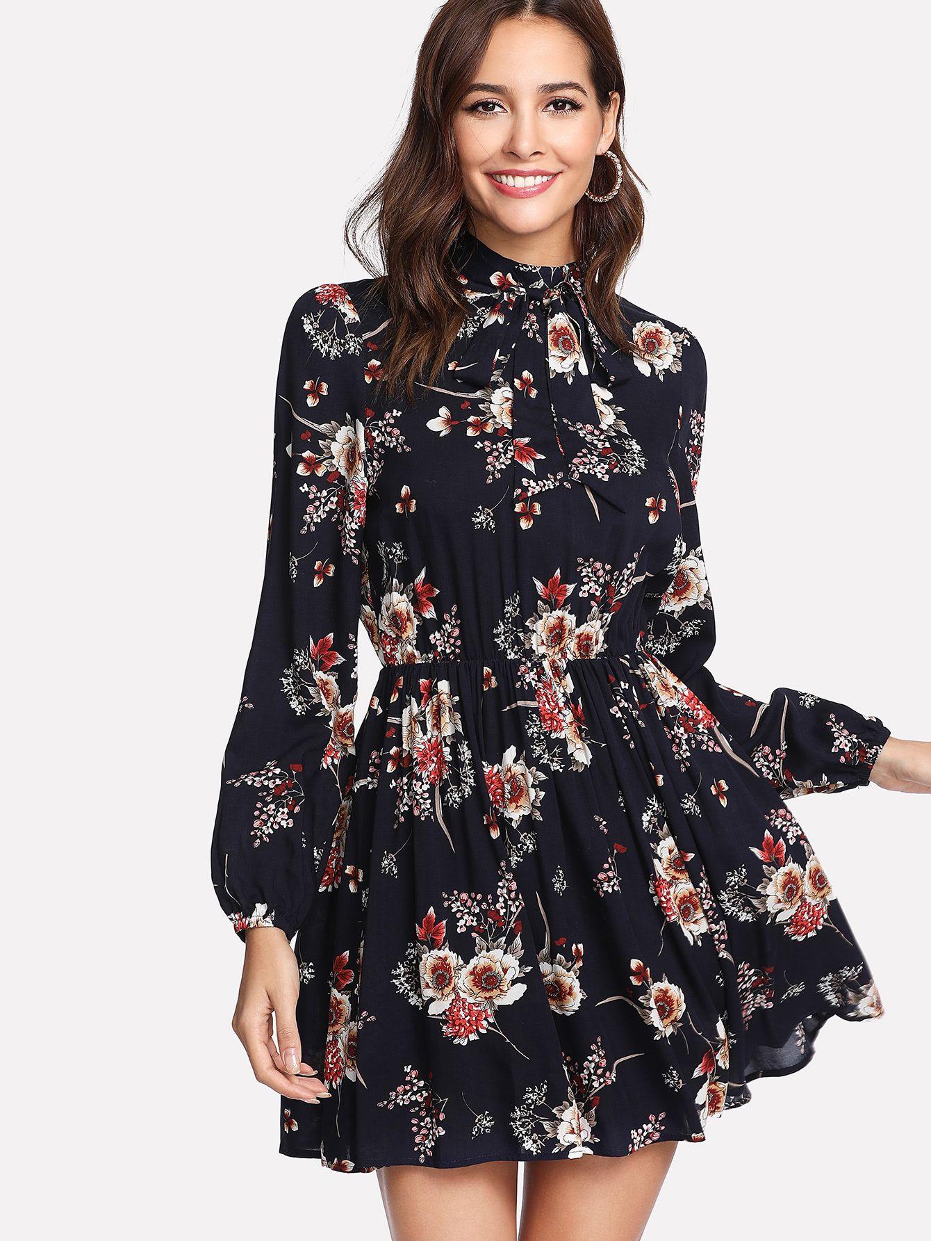 10862e4b2f3c8 Shop Tie Neck Flower Print Dress online. SheIn offers Tie Neck Flower Print  Dress & more to fit your fashionable needs.