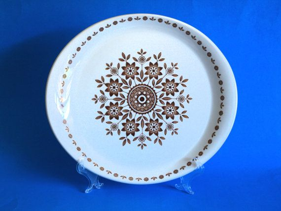Alpine White Ironstone Carefree Dinner Plates - Dinnerware Set Brown and White Floral - Wood \u0026 Sons - Made in England  sc 1 st  Pinterest & Alpine White Ironstone Carefree Dinner Plates 50s by FunkyKoala ...
