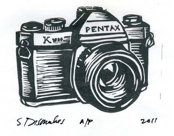 Pentax Camera Linocut Print