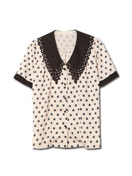 Pink Lapel Short Sleeve Polka Dot Print Chiffon Shirt