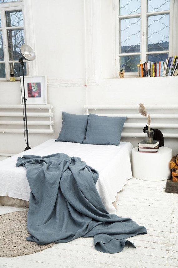 Linen Flat Sheet In Gray Blue King Queen Custom Bed Sheet Washed Linen Bedding Linen Bed Sheets Bed Cheap Bed Sheets