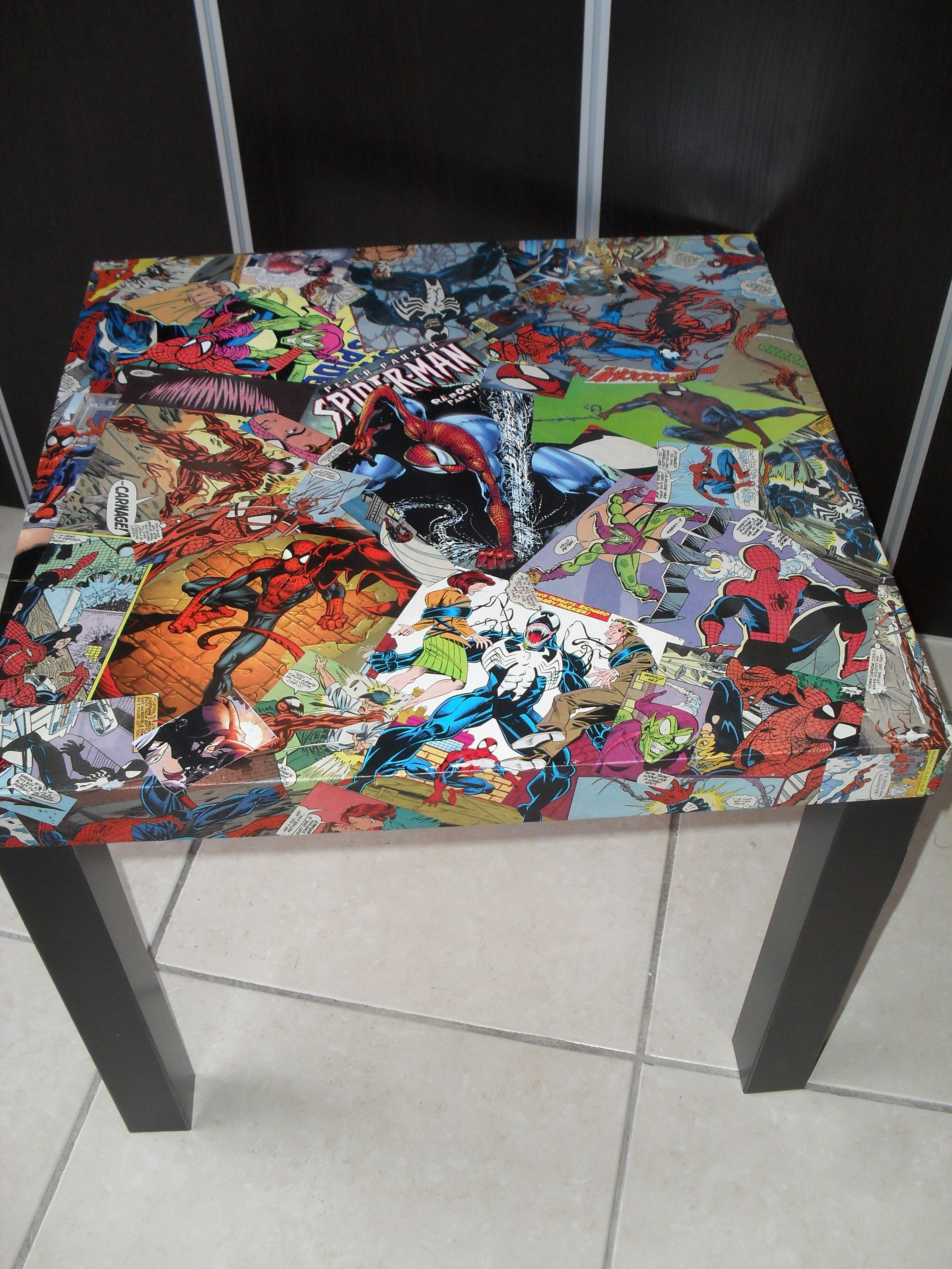 Spiderman Table And Chairs Lovesac Bean Bag Pin By Colleen Mccormic On Custom Comic Collage Tables