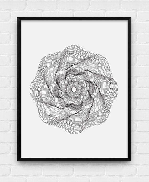 Geometric Spiral  Printable Poster  by BlackAndWhitePosters
