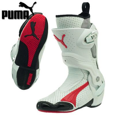 Puma 1000v3 Vented Boots White Red Sportbike Track Gear Bike Boots Boots Motorcycle Boots