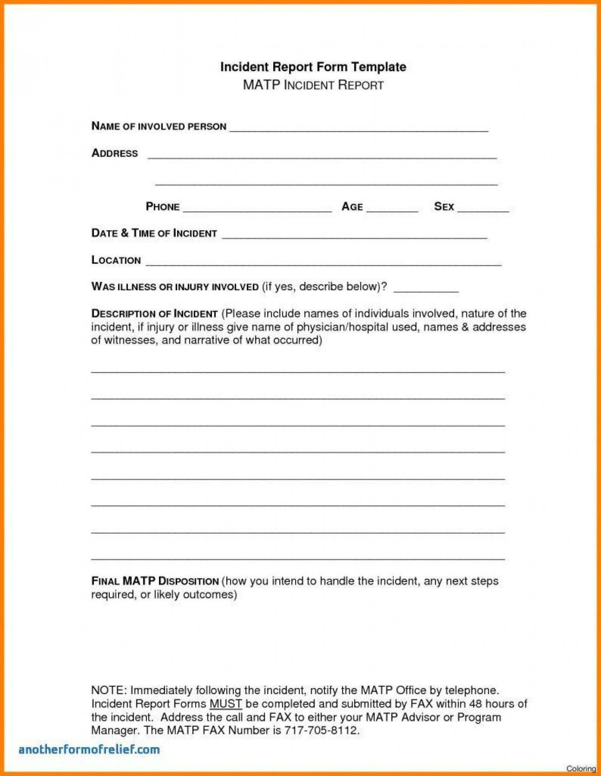 Dreaded Accident Report Form Templates Template Ideas Construction