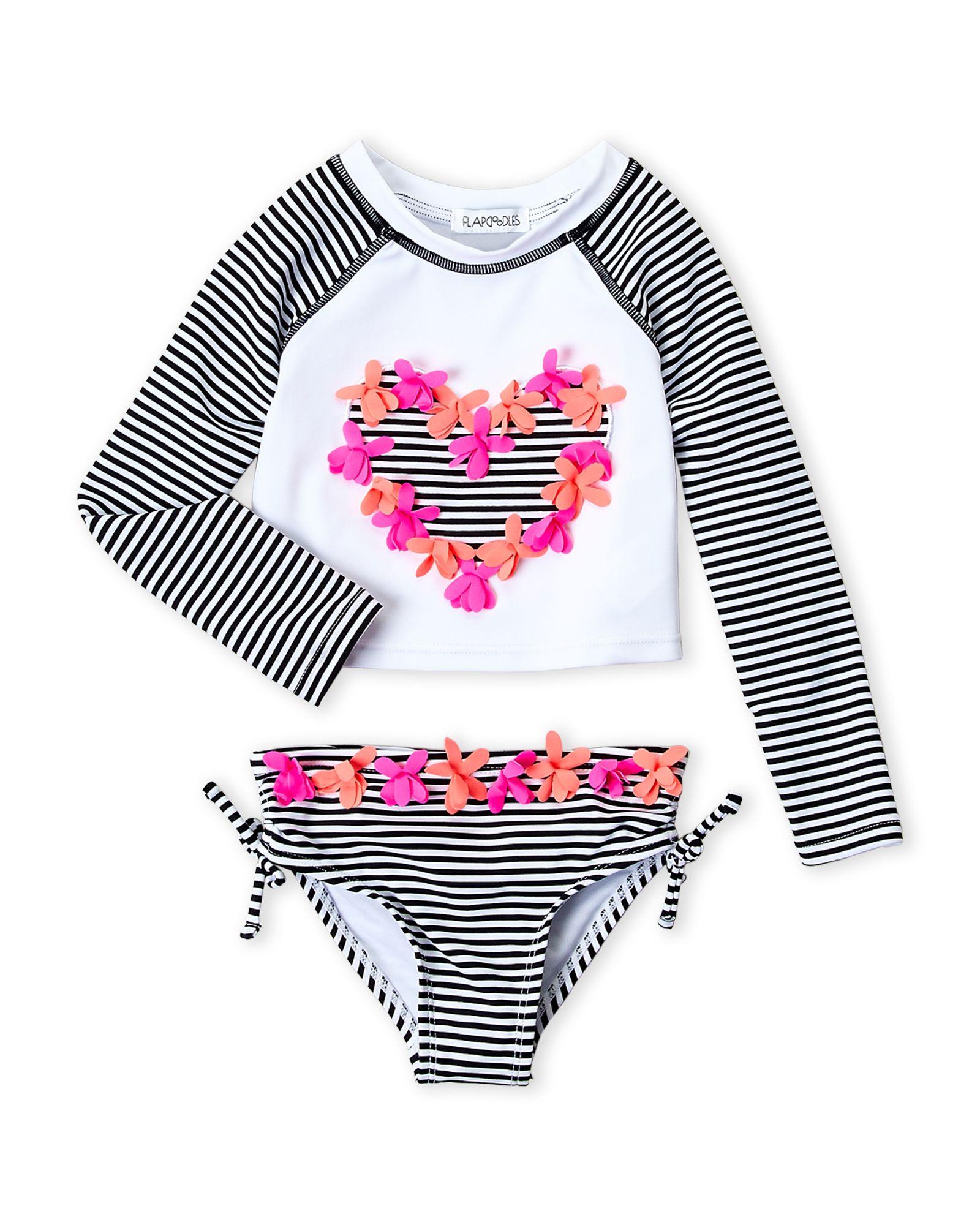 Toddler Girls Stripe Heart Long Sleeves Tankini Set Apparel