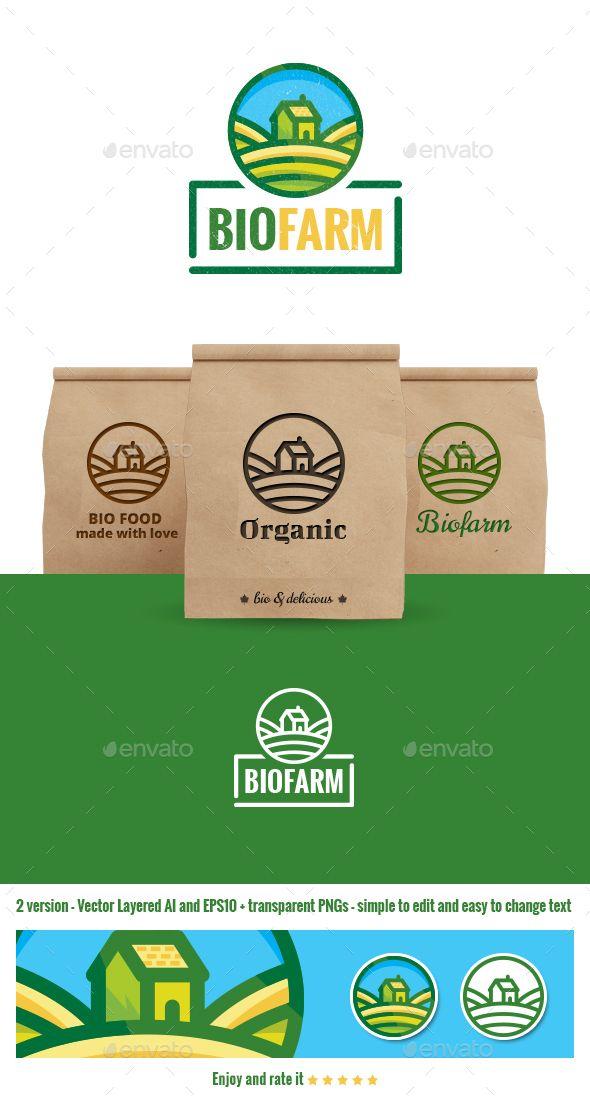 Biofarm Food Logo Templates Dengan Gambar Hidroponik