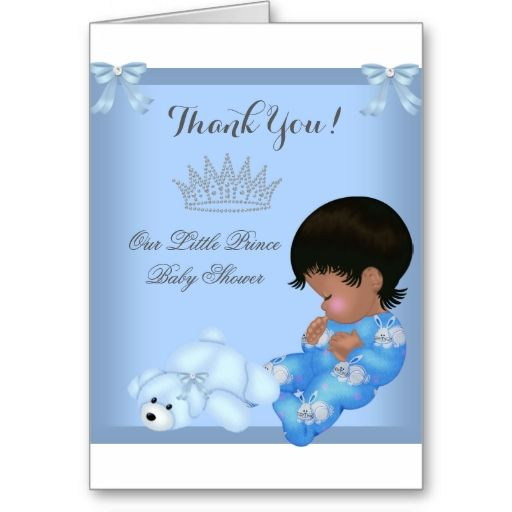 Thank You Little Prince Baby Shower Boy Blue AM Cards
