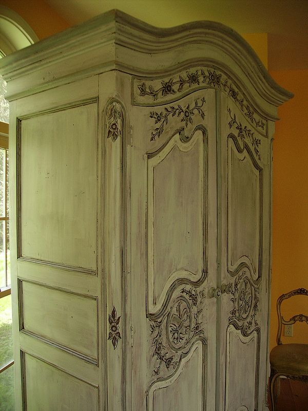 Painted Antique French Country Armoire Romantic Shabby Chic