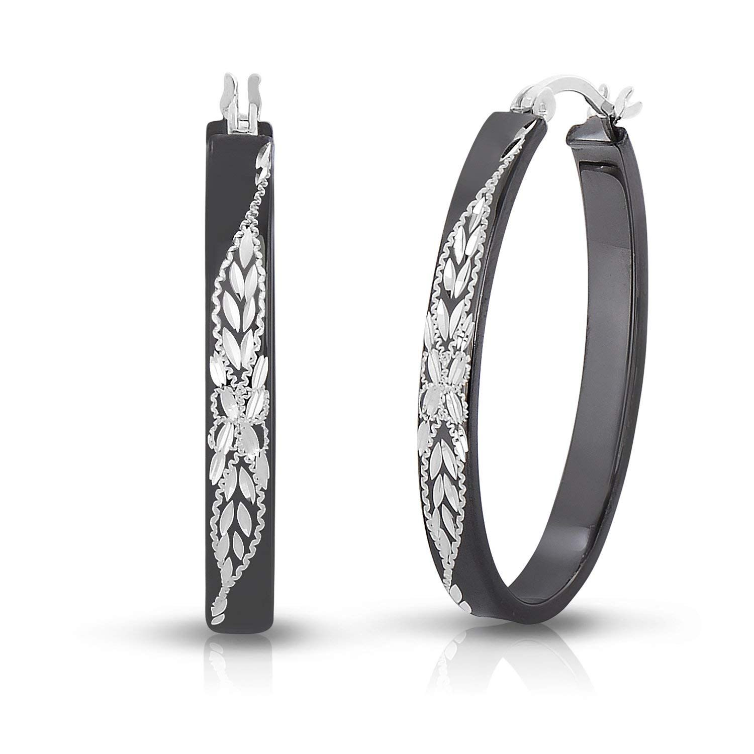 0a2139de2 Sterling Silver Diamond-cut Engraved Oval Flat Black Hoop Earring (1.2  Inch) * Thank you for seeing our picture. (This is our affiliate link) # earrings