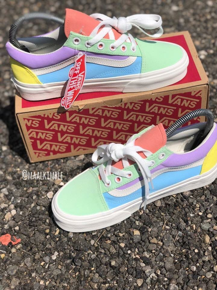 95b8ddc147 Love these vans in colorblock fun pastel colors. So one-of-a-kind special.   vans  sneakers  aff