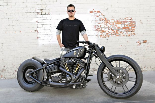 Dark Cannon: a custom Harley Softail Rocker C by Rough Crafts.