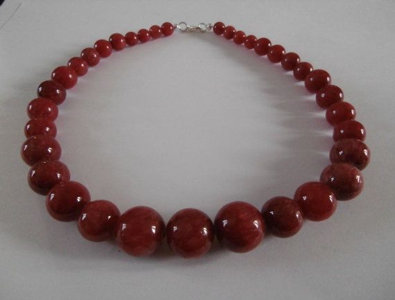 Cherry Red Chinese Jade Necklace by WearMyJewellery on Etsy, £8.00