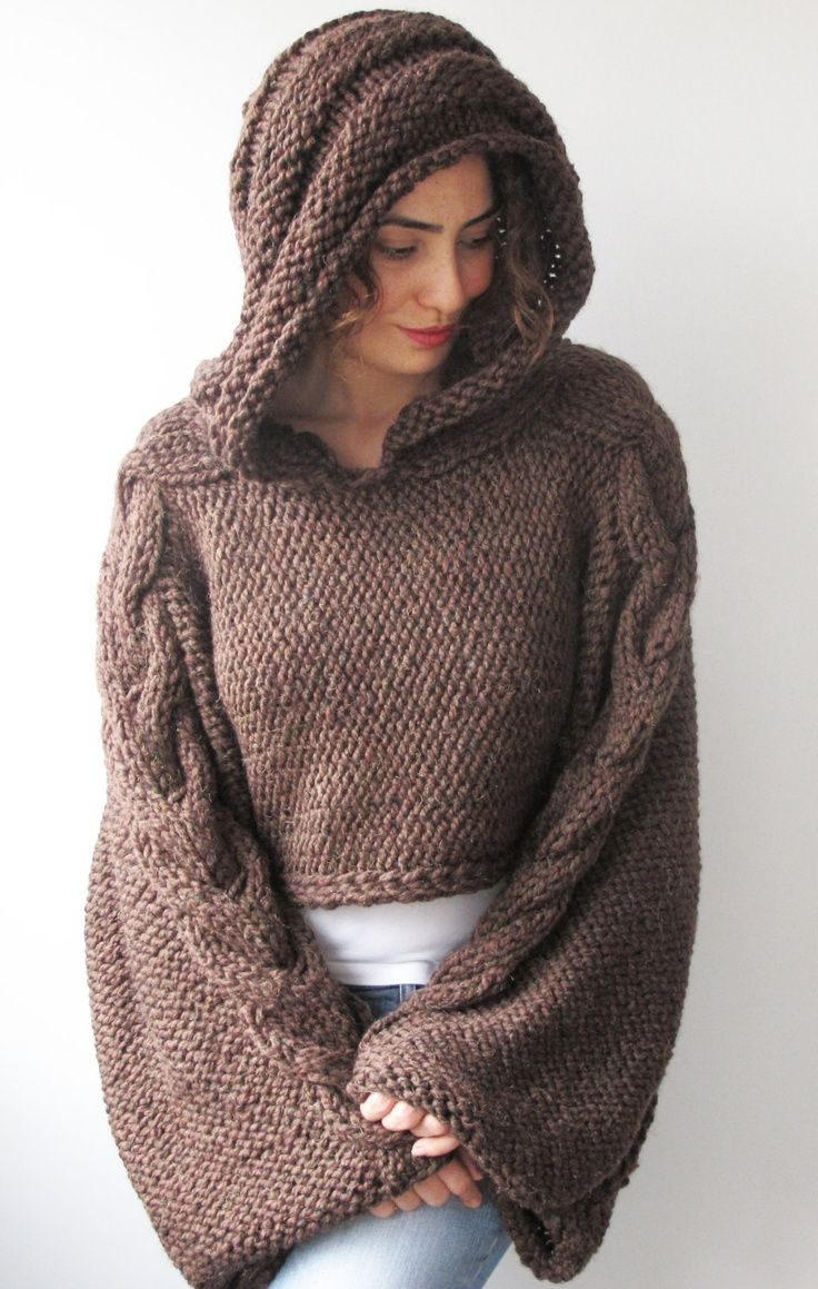 Plus Size - Over Size Dark Brown Cable Knit Hoodie Capalet by Afra ...