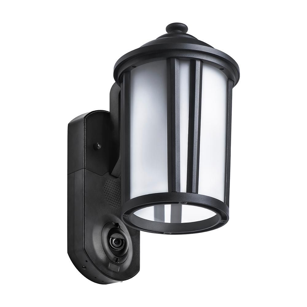 Maximus Traditional Smart Security Textured Black Metal And Glass Outdoor Wall Lantern Spl08 07a1w4 Bkt Outdoor Wall Lantern Home Security Systems Wall Lantern