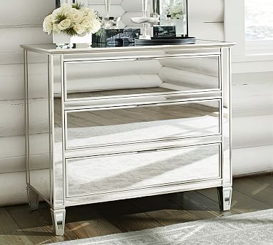 Park Mirrored Dresser Champagne Finish Chest Of Drawers