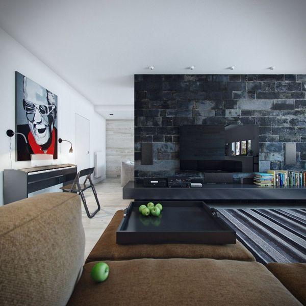 Steinwand Wohnzimmer Aus Schwarze Steine