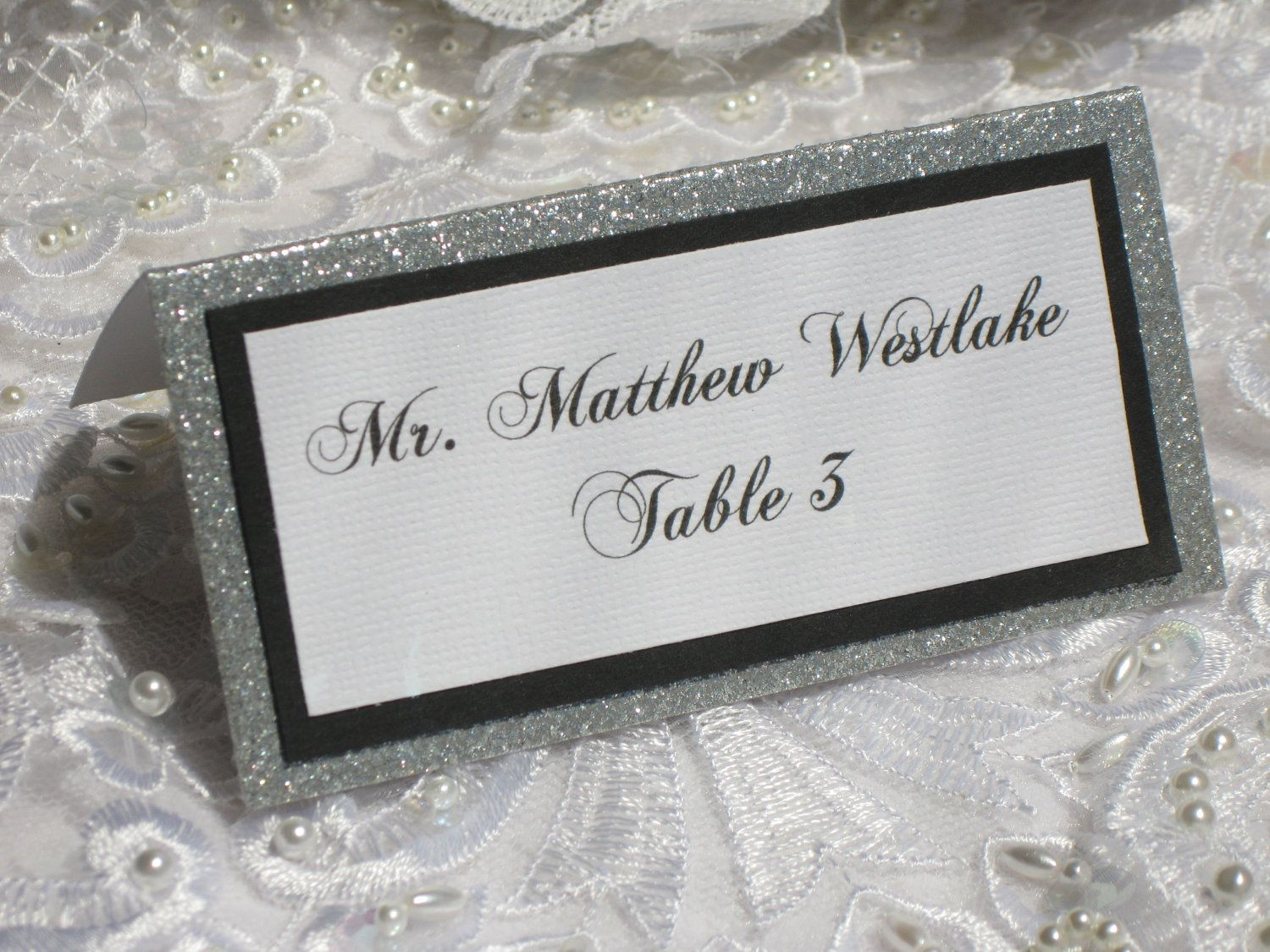 Glitter Tented Place Cards Set Of 50 Name Cards Escort Cards Wedding